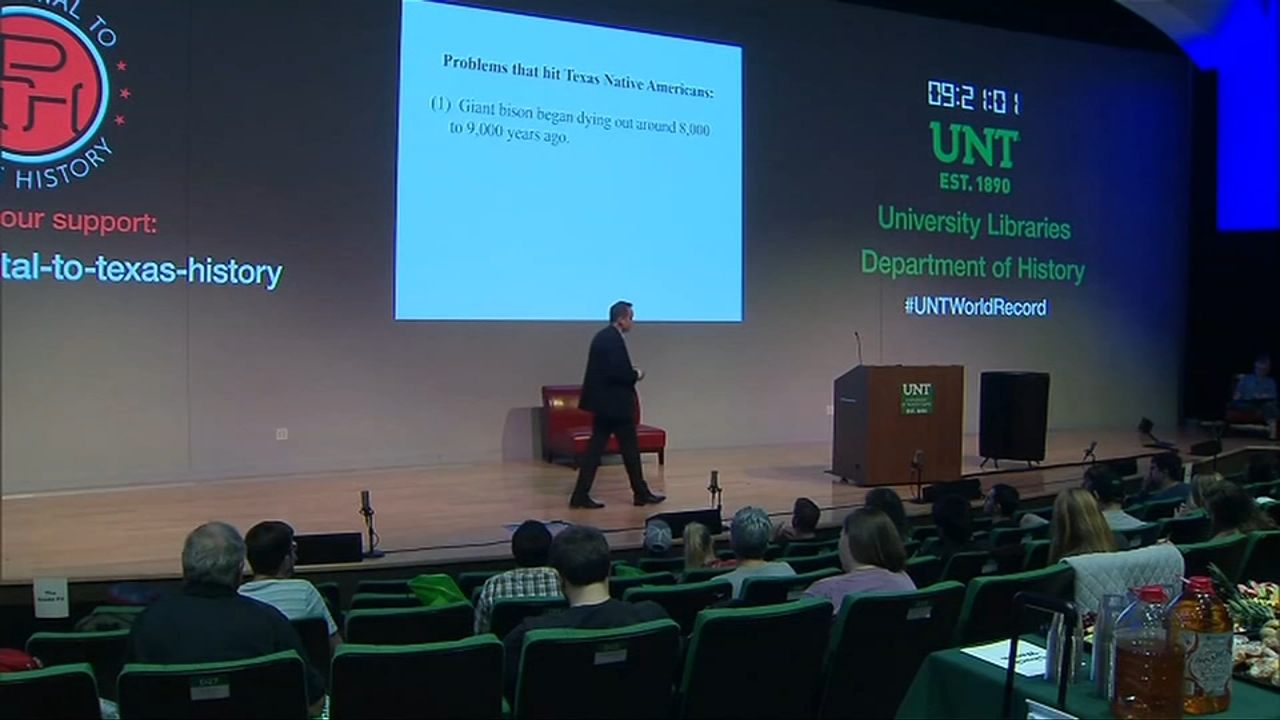 Professor attempts worlds longest college lecture with 30-hour Texas history lecture. Gray Hall reports during Action News at 6 a.m. on August 25, 2018.