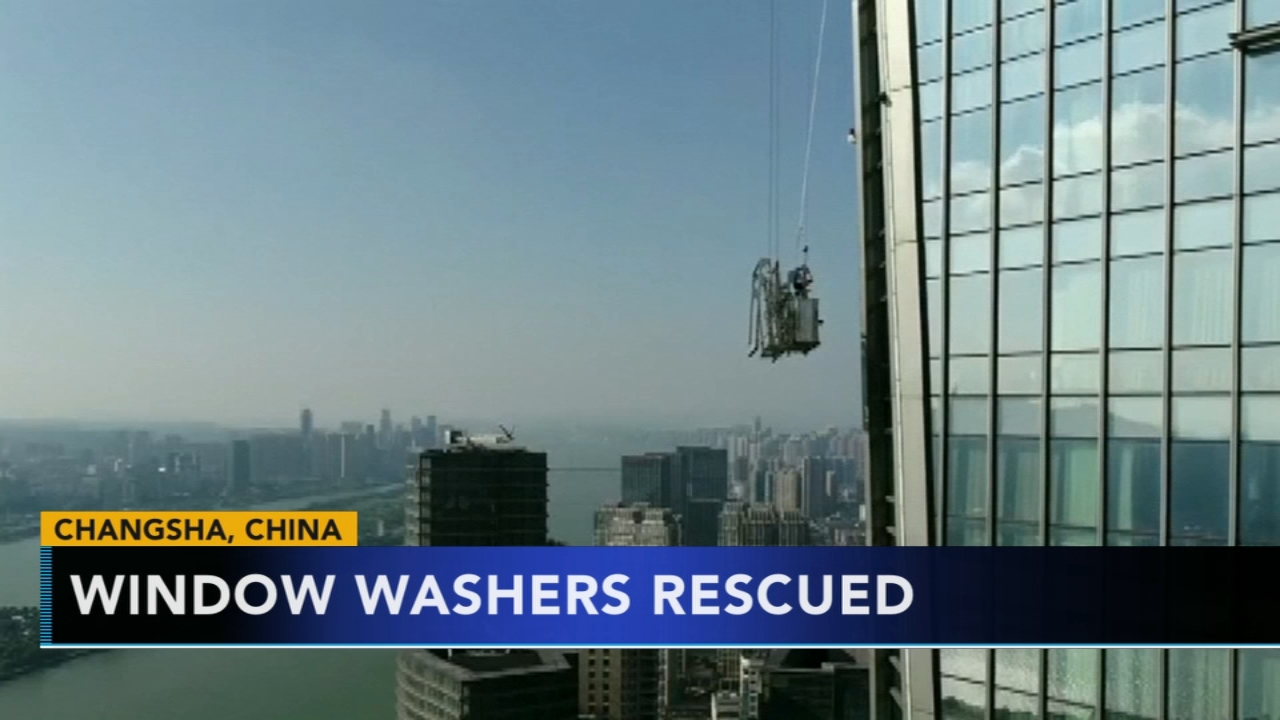 Window washers rescued after being stranded for 3 hours in China. Gray Hall reports during Action News at 9 a.m. on August 25, 2018.