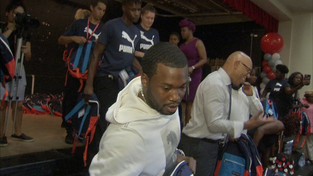 Meek Mill surprises North Philadelphia students with new backpacks: Jeannette Reyes reports during Action News at 12:30pm on August 29, 2018.
