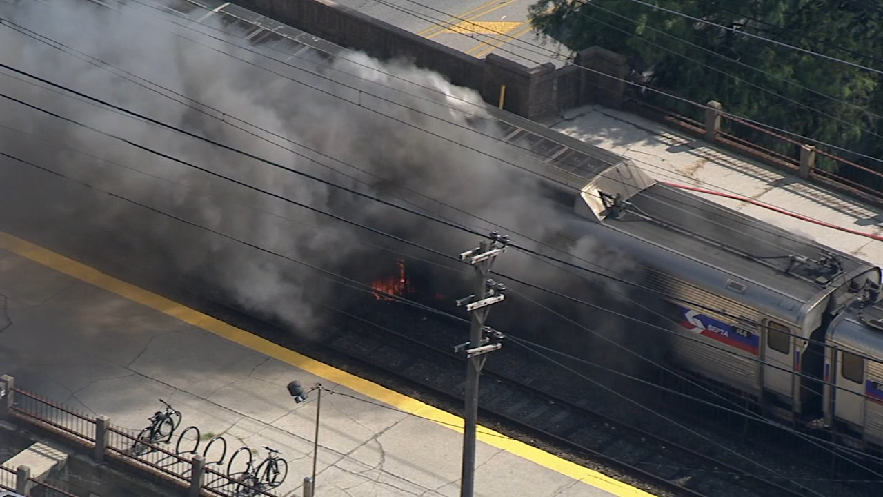 Chopper 6 over SEPTA train fire in Glenside, Pa. on August 29, 2018.