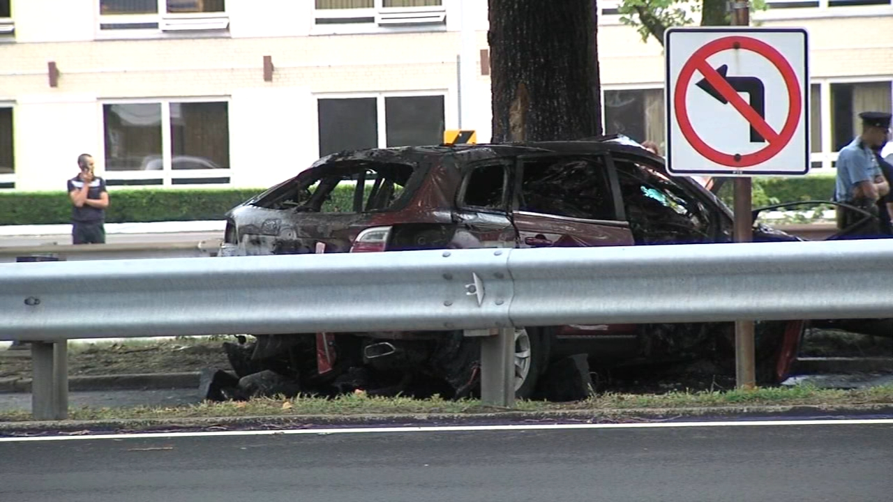 Driver killed after vehicle strikes tree, catches fire on Roosevelt Blvd.. Walter Perez reports during Action News at 10 p.m. on September 1, 2018.