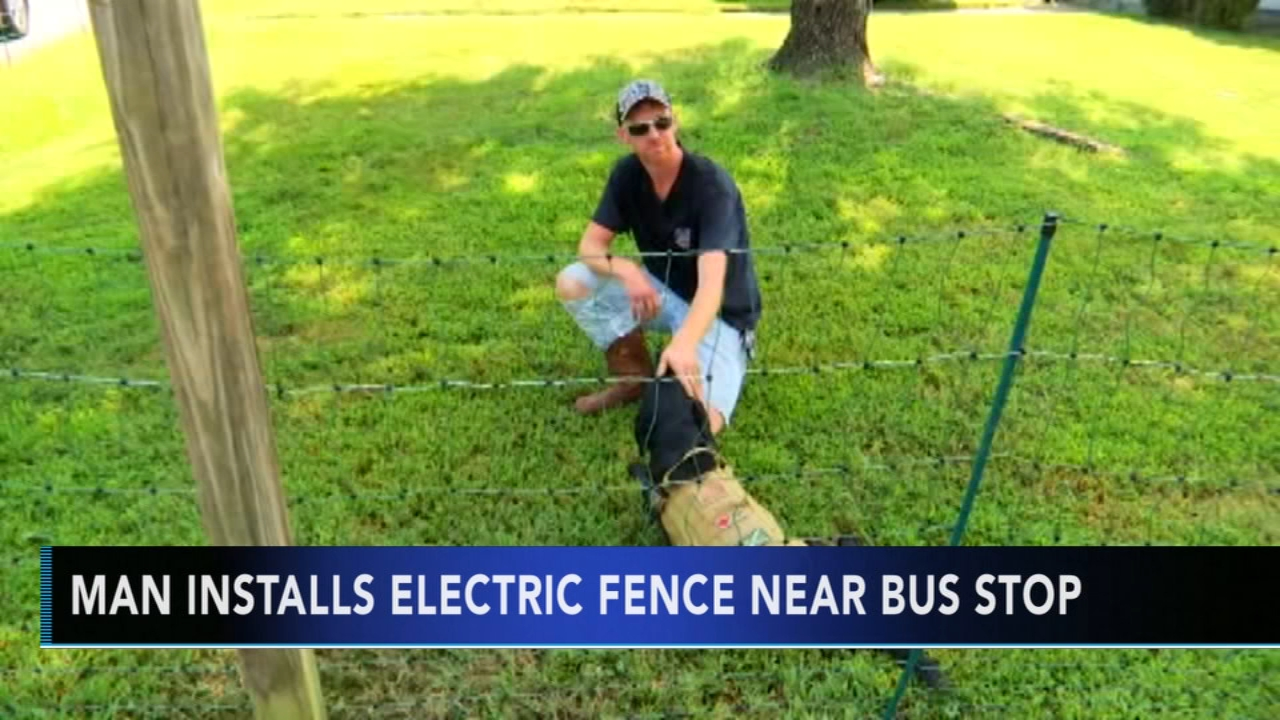 Man installs electric fence near bus stop. Tamala Edwards reports during Action News Mornings on September 5, 2018.