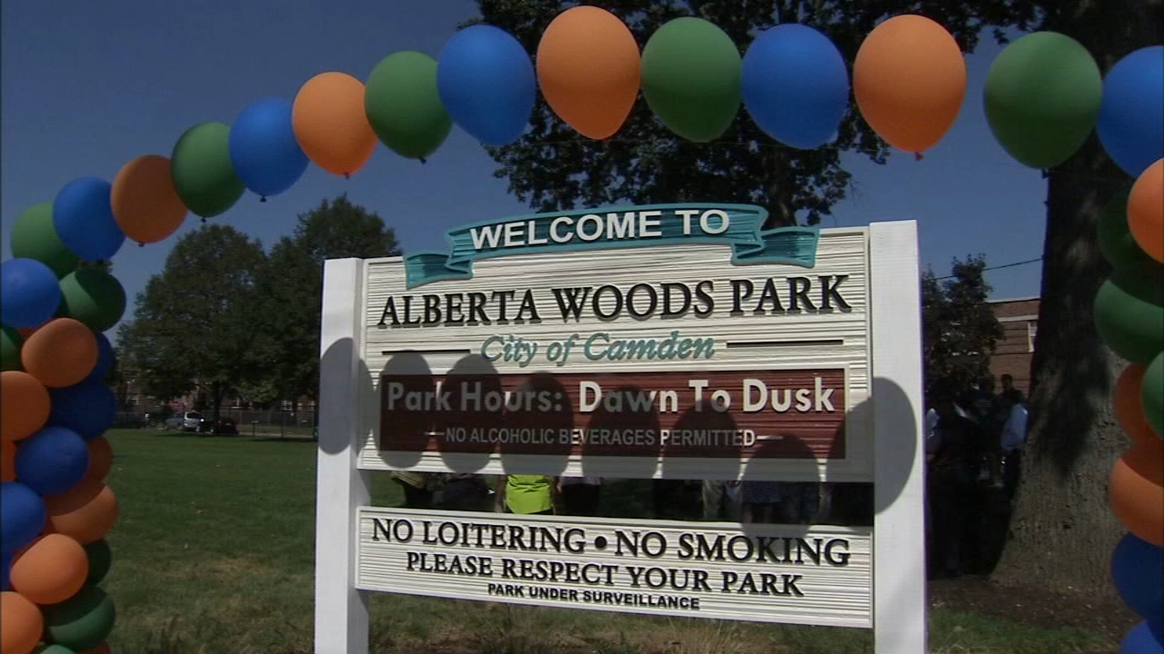 Alberta Woods park at Dudley street and Fremont avenue has a new Sprayground, picnic tables, lights and walking loop as reported during Action News at 4 on September 5, 2018..