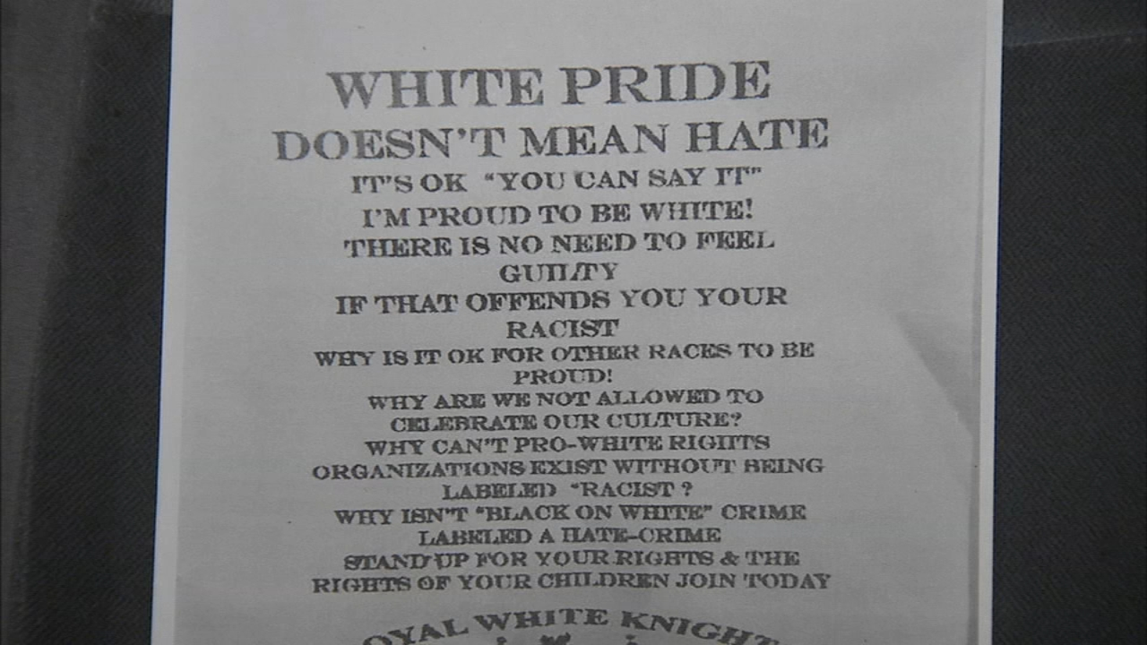 Police would like to speak to the person who printed White Pride flyers as reported by Maggie Kent during Action News at 11 on September 12, 2018.