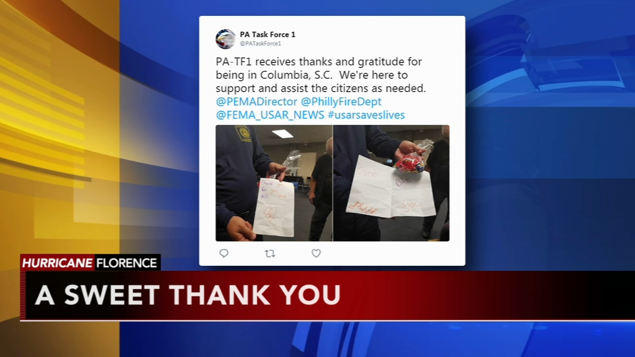 Sweet thank you notes given to Pa. Task Force One. Sharrie Willliams reports during Action News at 4:30 p.m. on September 13, 2018.