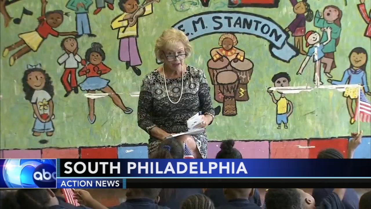 Former first lady of Pennsylvania led the kids in a recitation of the preamble of the constitution as reported during Action News at 4 on Septmeber 17, 2018.
