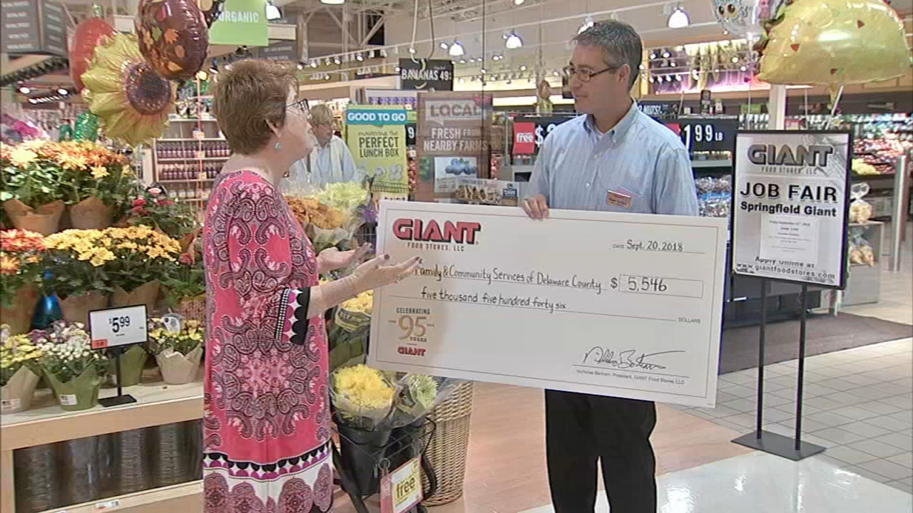 Giant Food Stores presented a check worth $5,500 dollars as reported during Action News at 6 on September 20, 2018.