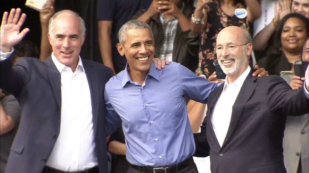 Former President Barack Obama stumps for Democrats in Philadelphia. Watch the report from Jeff Chirico on Action News at 6 p.m. on September 21, 2018.