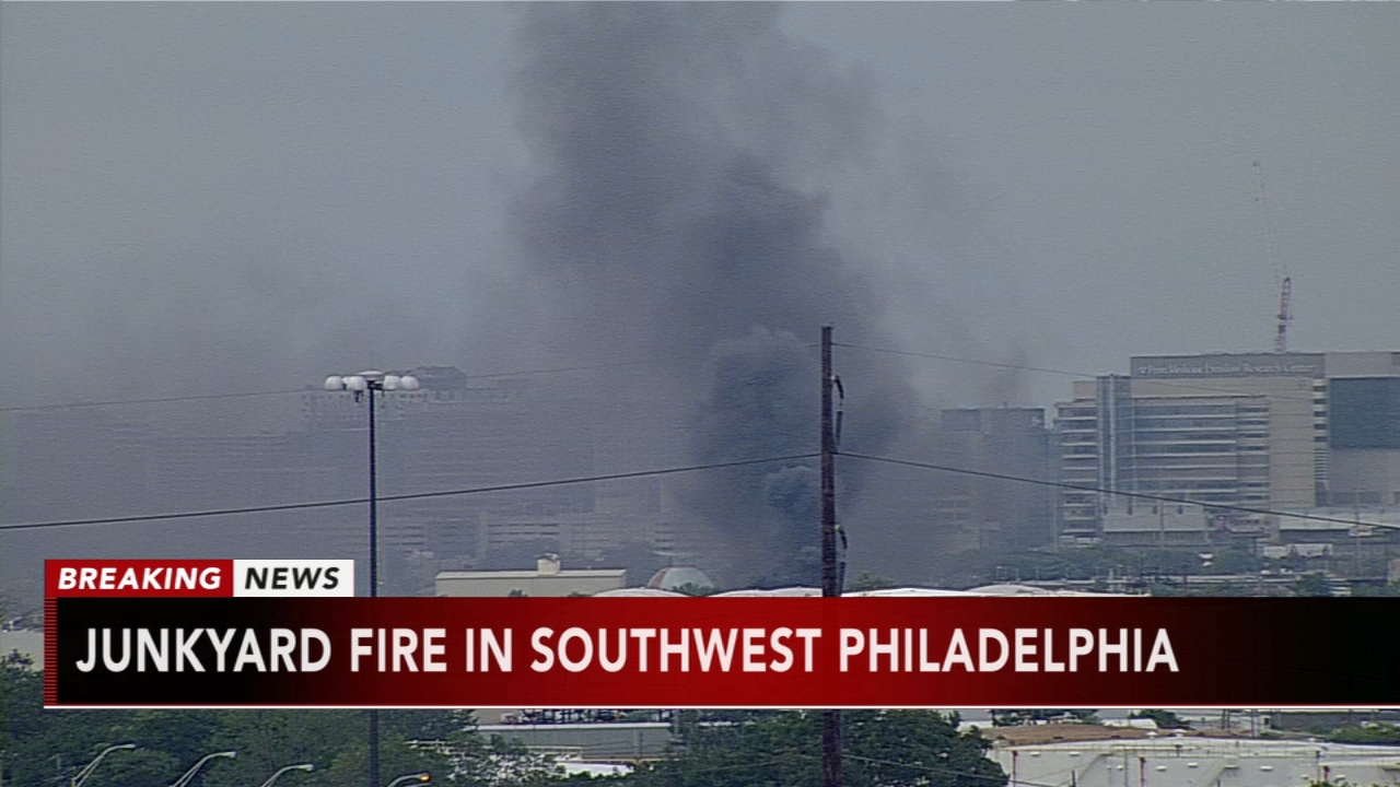 Plume of smoke billows from SW Philly junkyard fire. Watch this report from Action News at 4pm on September 21, 2018.