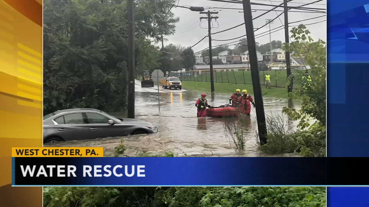 Driver rescued from flood waters in West Chester. Monica Malpass reports during Action News at 5 p.m. on September 25, 2018.