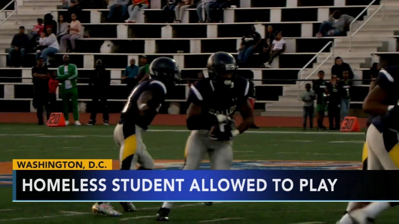 Homeless high school football player back on field after missing 2 years of playing time. Nydia Han reports during Action News at 7 a.m. on September 30, 2018.