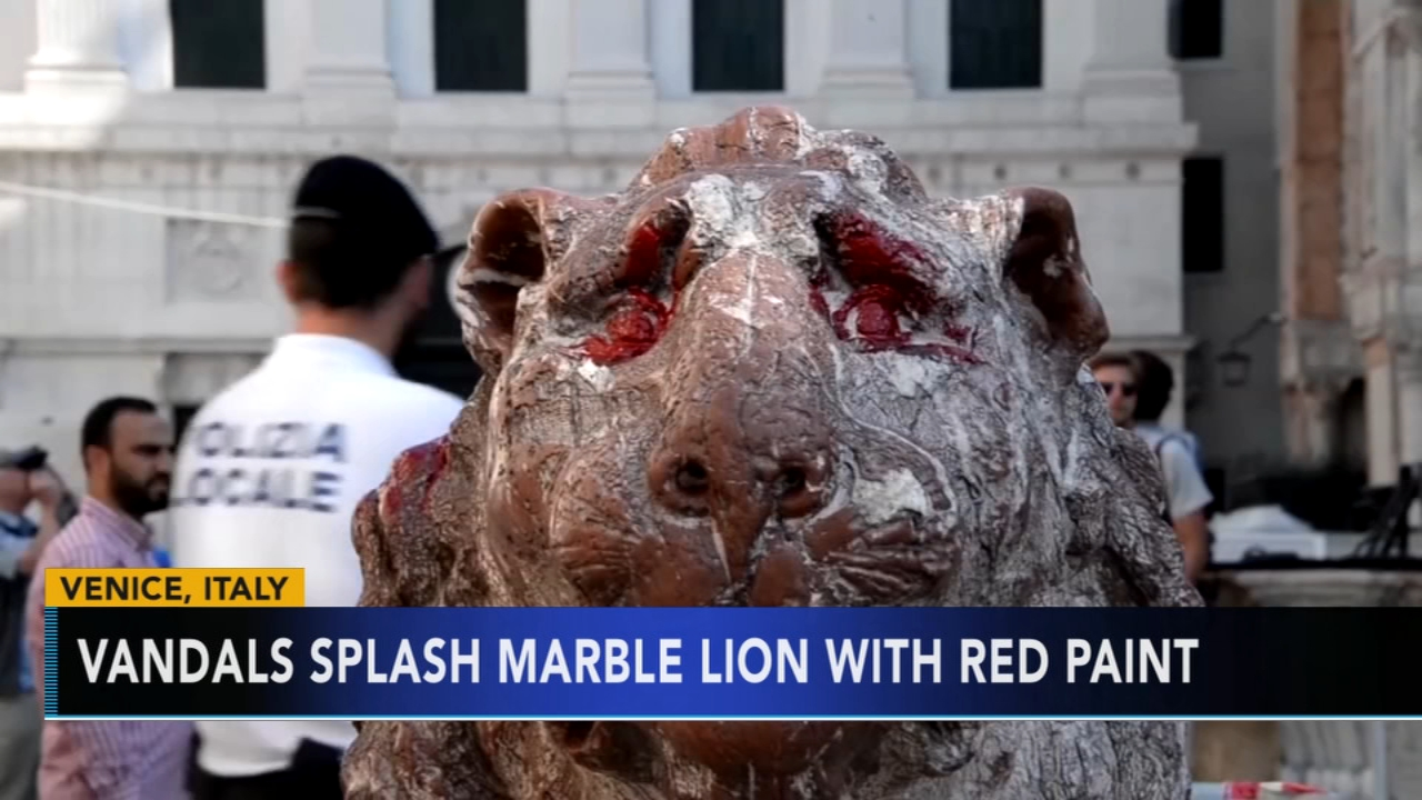 Lion statue standing guard at Venices San Marco vandalized. Gray Hall reports during Action News at 10 a.m. on September 30, 2018.