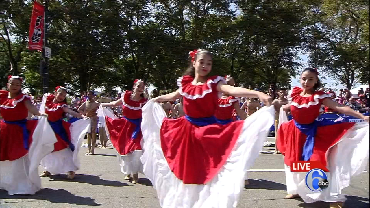 The Puerto Rican Day Parade makes its way down the Ben Franklin Parkway.