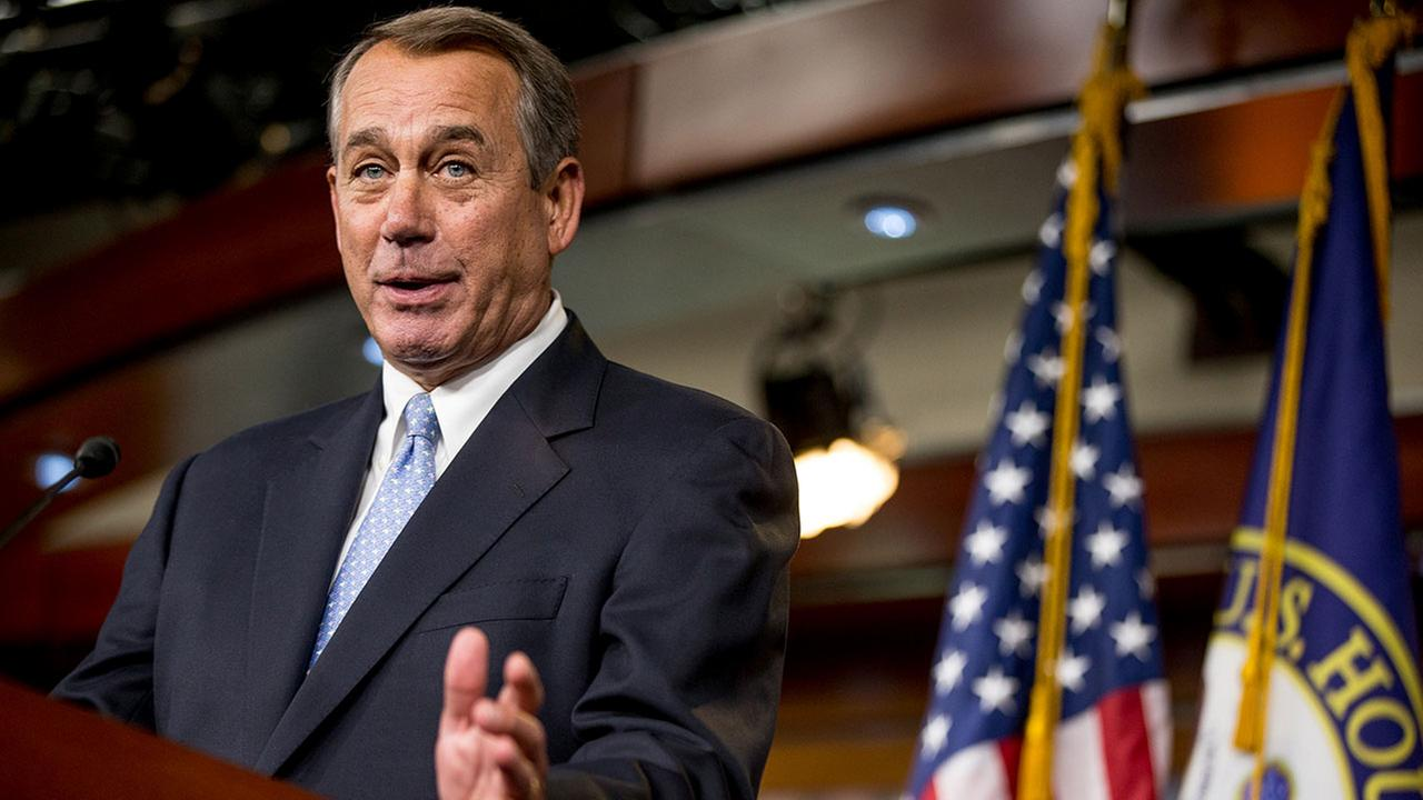 In this March 26, 2015 file photo, House Speaker John Boehner of Ohio speaks to members of the media during his weekly news Conference on Capitol Hill in Washington.