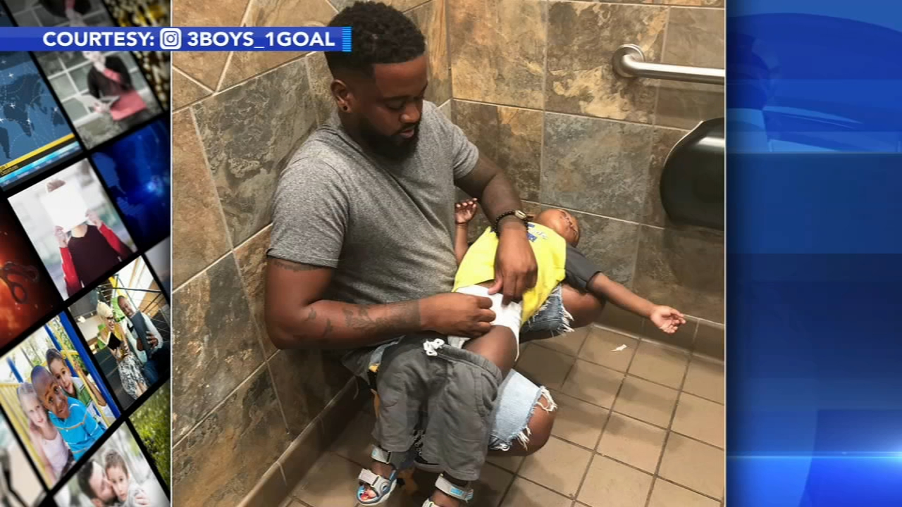 Photo shows how diaper-changing stations in mens restrooms are still too rare. Watch the report from Action News at 4:30 p.m. on October 2, 2018.