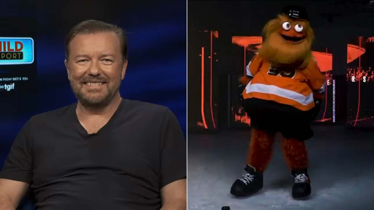 Ricky Gervais talks about his fight with Philadelphia Flyers mascot Gritty