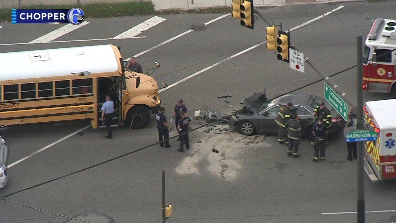 School bus, car collide in Wissinoming. Rick Williams reports during Action News at Noon on October 5, 2018.