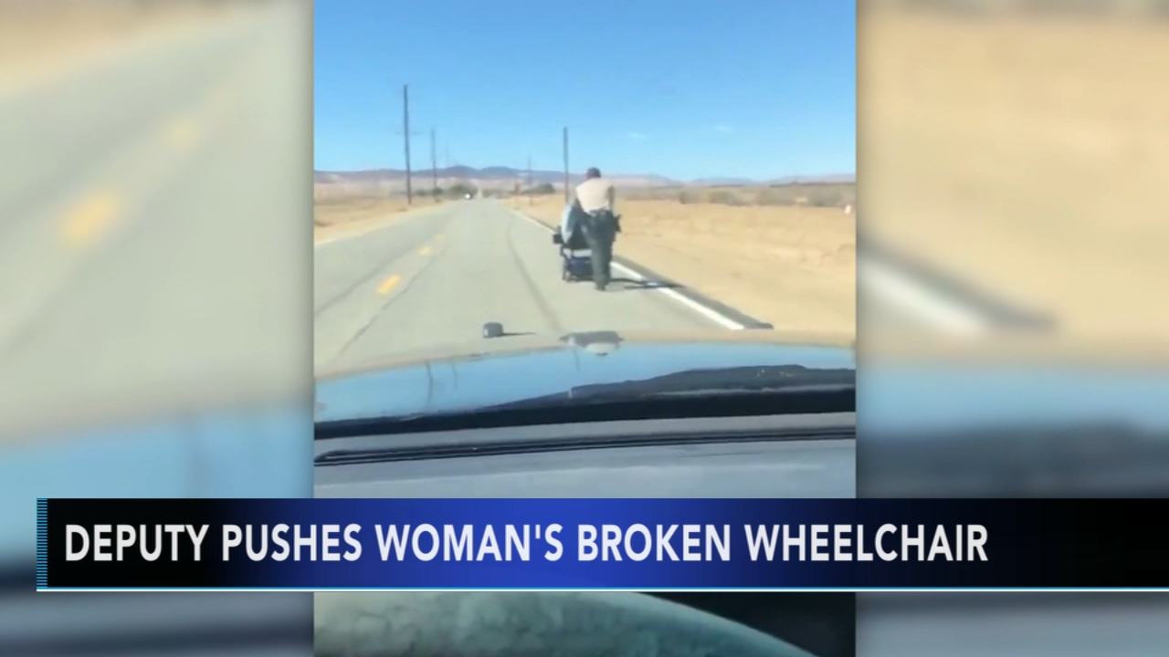 California sheriffs deputies help woman stranded with broken wheelchair. Gray Hall reports during Action News at 7 a.m. on October 6, 2018.