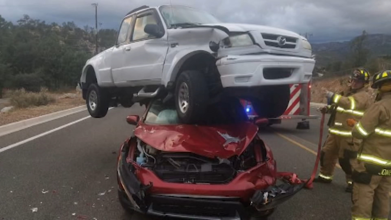 Wild Arizona crash leaves truck on top of car. Tamala Edwards reports during Action News Mornings on October 9, 2018.