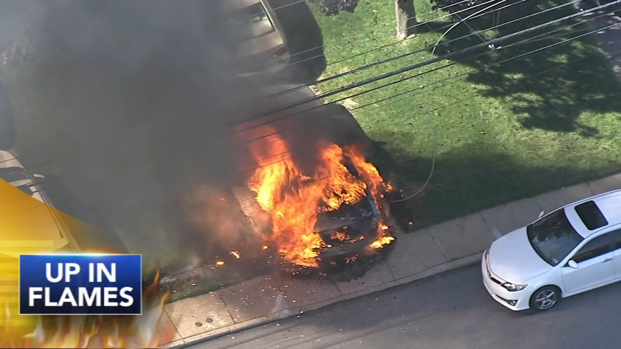 Downed wire causes car fire across from Delco school. Watch the report from John Rawlins on Action News at 4 p.m. on October 12, 2018.