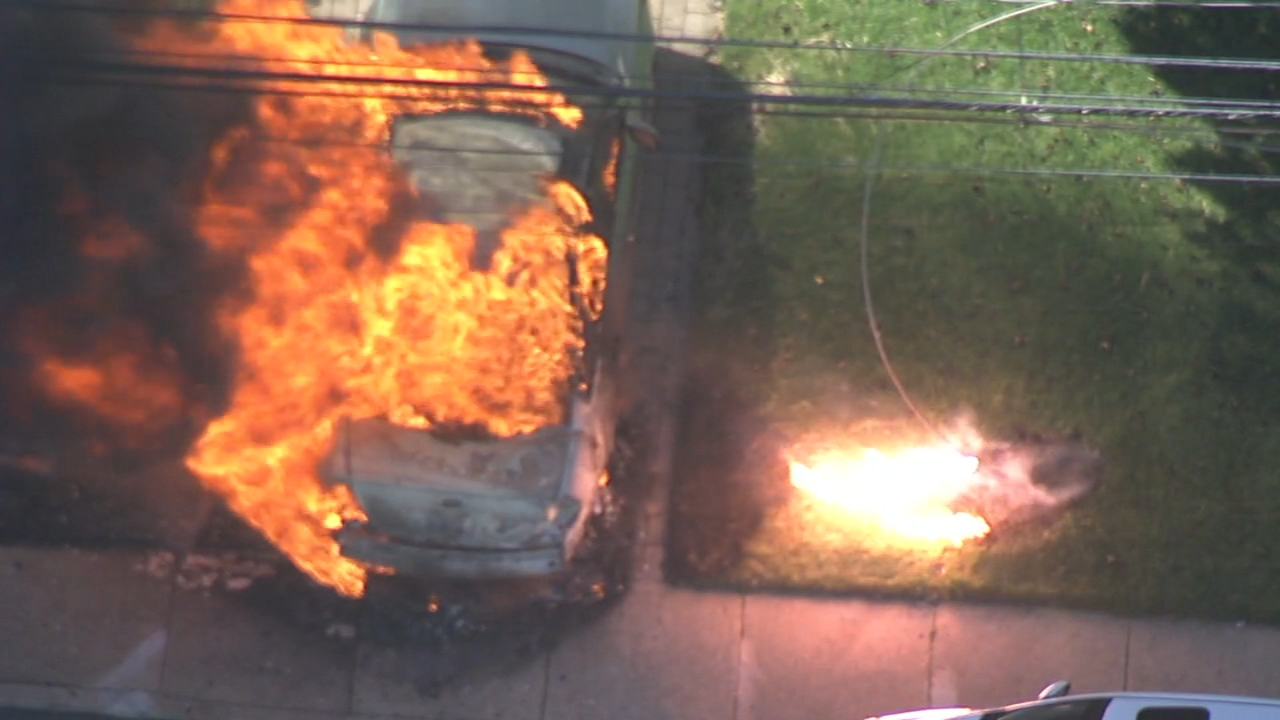 Chopper 6 Video: Downed wires causes car fire in Folcroft, Delaware County on October 12, 2018.