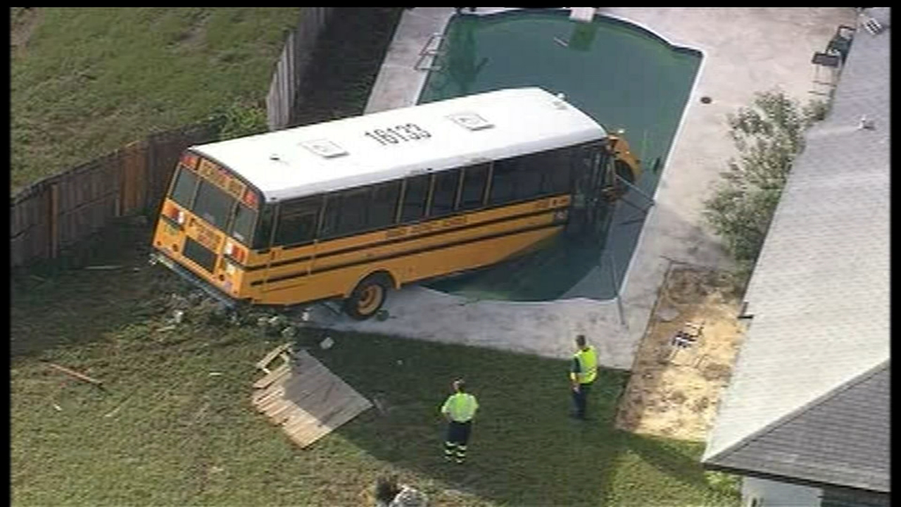 School bus ends up in swimming pool after crash near Orlando, Florida. Watch the video from 6abc.com on October 12, 2018.