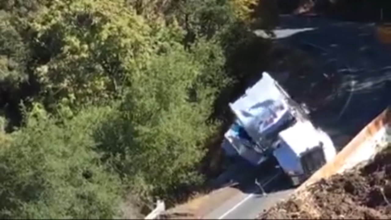 Truck falls off narrow road in California. Gray Hall reports during Action News at 7 a.m. on October 13, 2018.