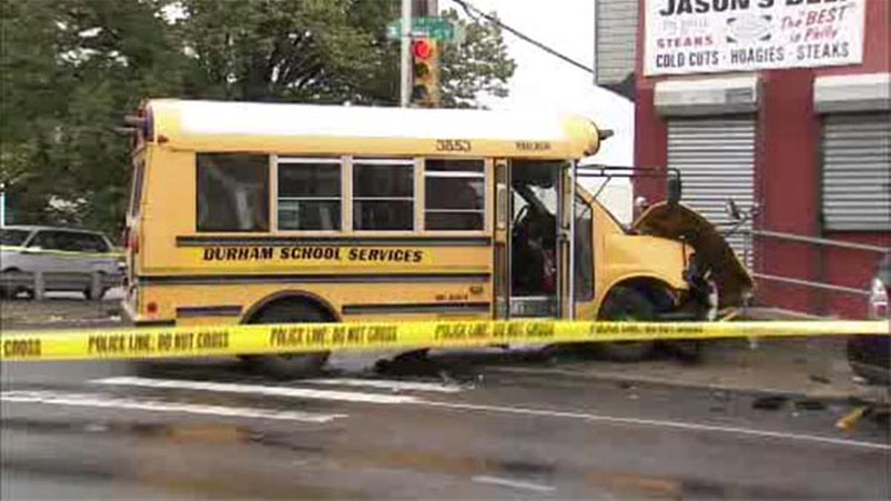 A school bus driver and four students were taken to the hospital after a crash in Philadelphias Kensington section.