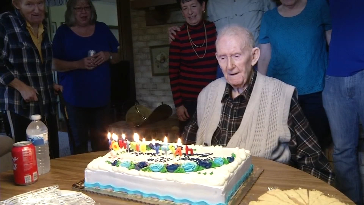 Navy veteran celebrates 100th birthday in Newark. Nydia Han reports during Action News at 10 a.m. on October 14, 2018.