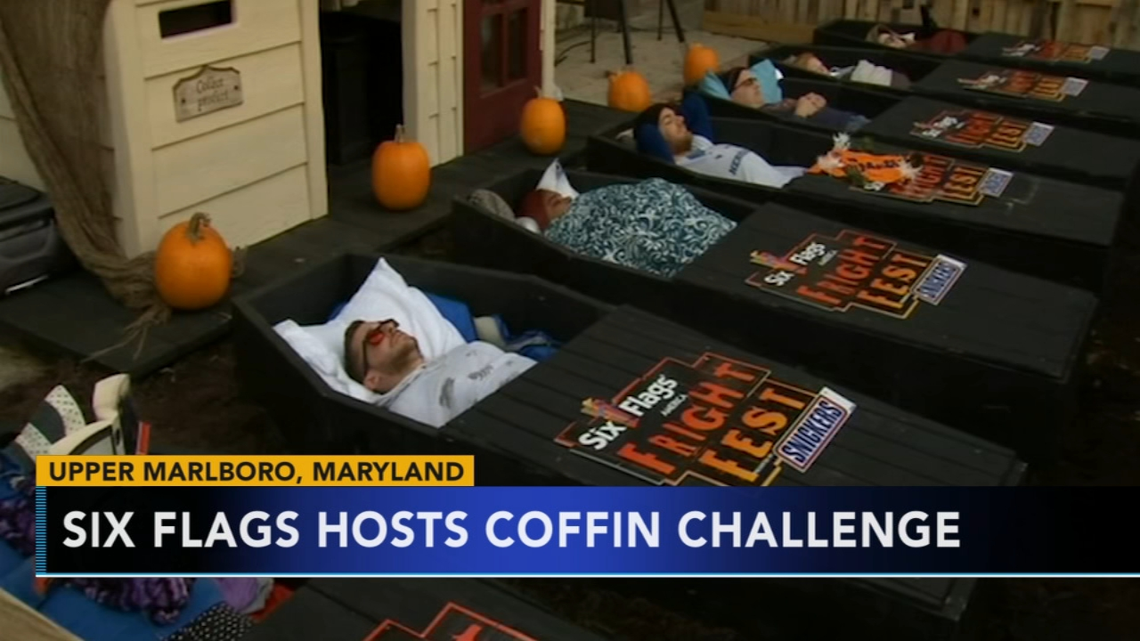 6 people take part in Six Flags coffin challenge in Maryland. Gray Hall reports during Action News at 9 a.m. on October 14, 2018.
