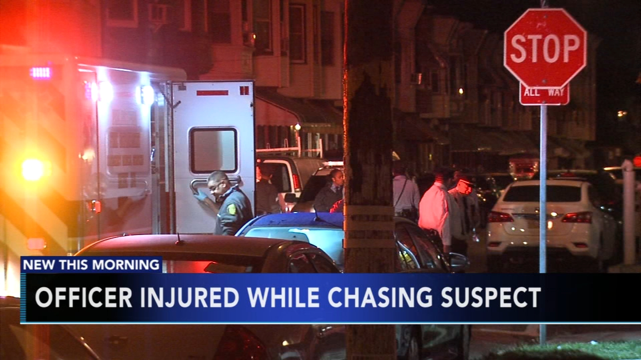 Officer injured while chasing suspect in Strawberry Mansion. Gray Hall reports during Action News at 6 a.m. on October 14, 2018.