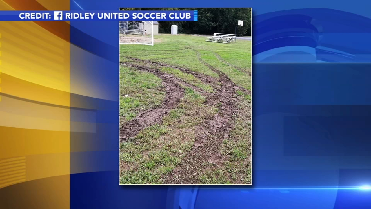 Suspects sought for vandalizing soccer field in Ridley Park. Gray Hall reports during Action News at 6 a.m. on October 14, 2018.