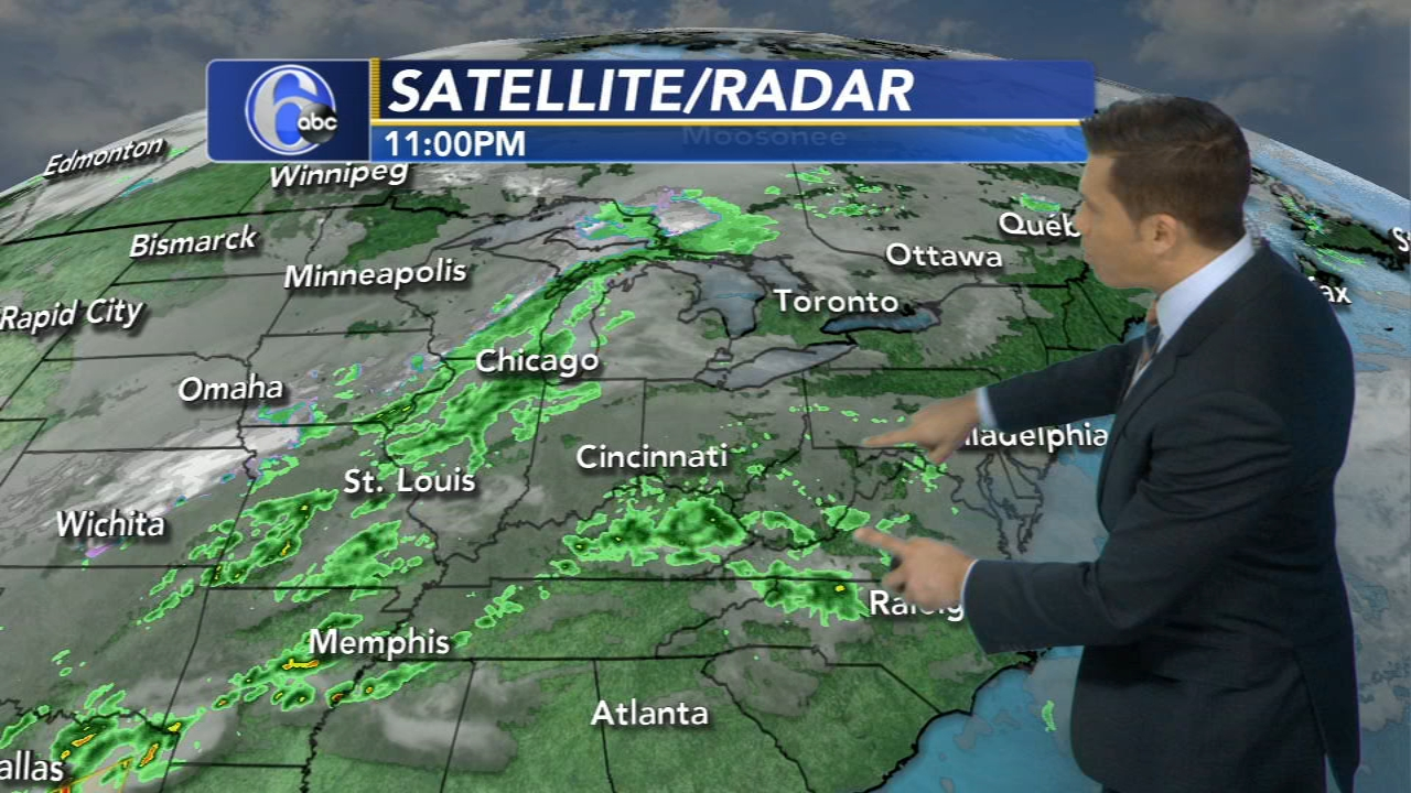 Adam Joseph with AccuWeather on Action News at 11 p.m., October 14, 2018