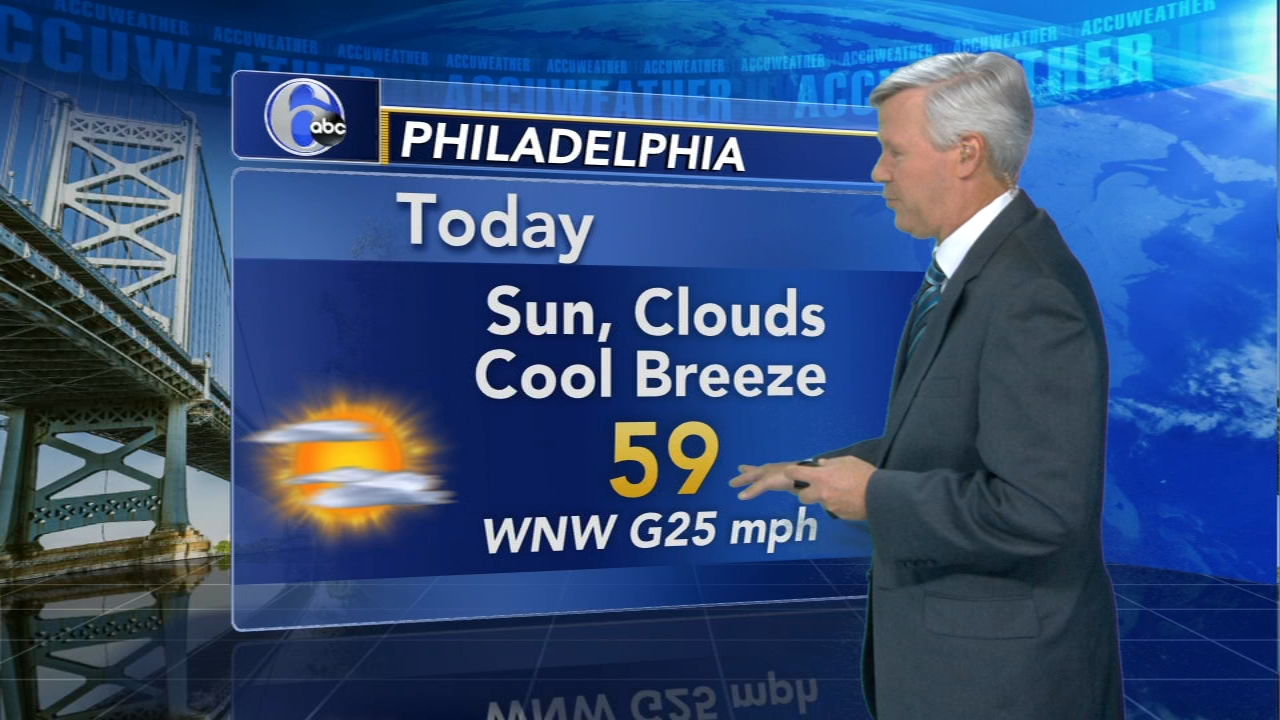David Murphy with AccuWeather during Action News at noon on October 16, 2018.