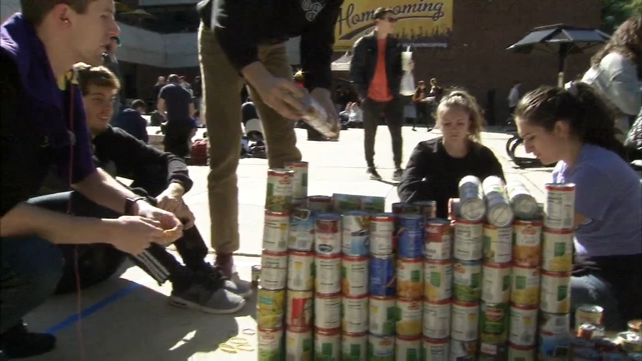 14 teams from the university formed sculptures using canned goods as reported during Action News at 4 on October 17, 2018.