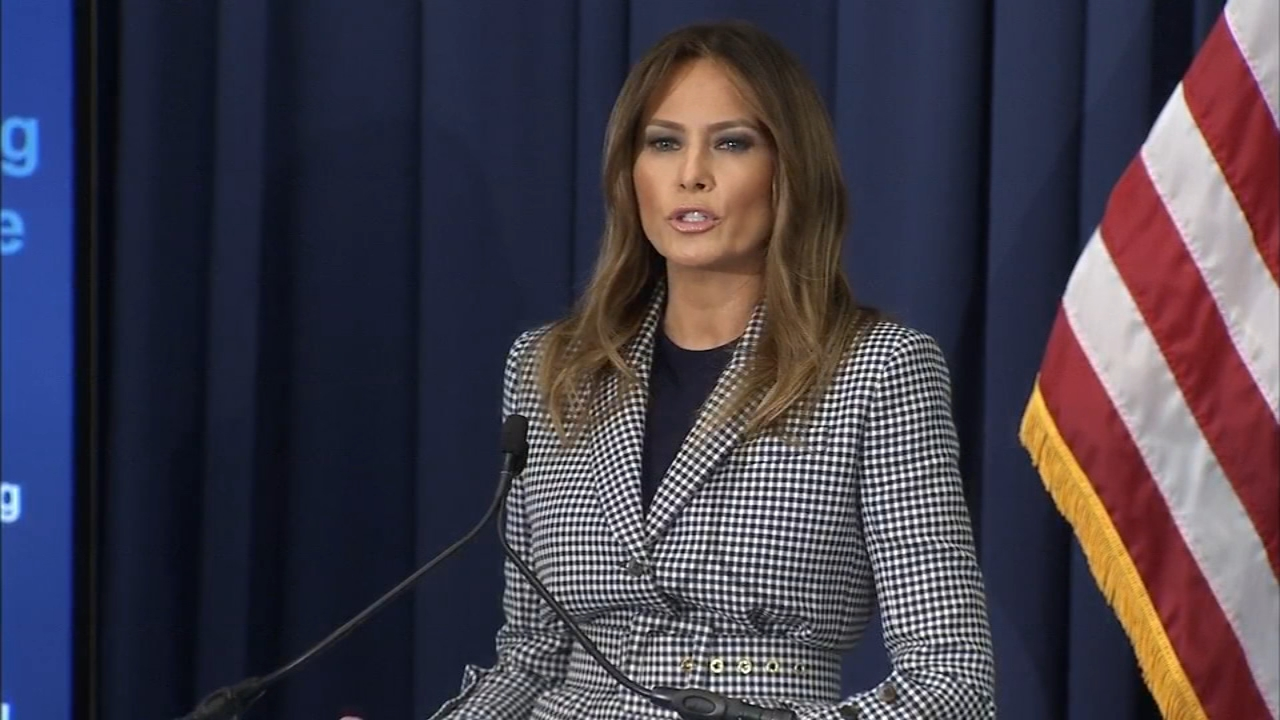 Melania Trump speaks in Philly after emergency landing. Maggie Kent reports during Action News at Noon on October 17, 2018.