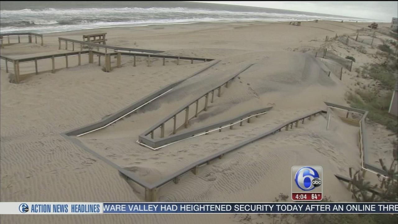 VIDEO: Weekend weather takes heavy toll on NJ beaches