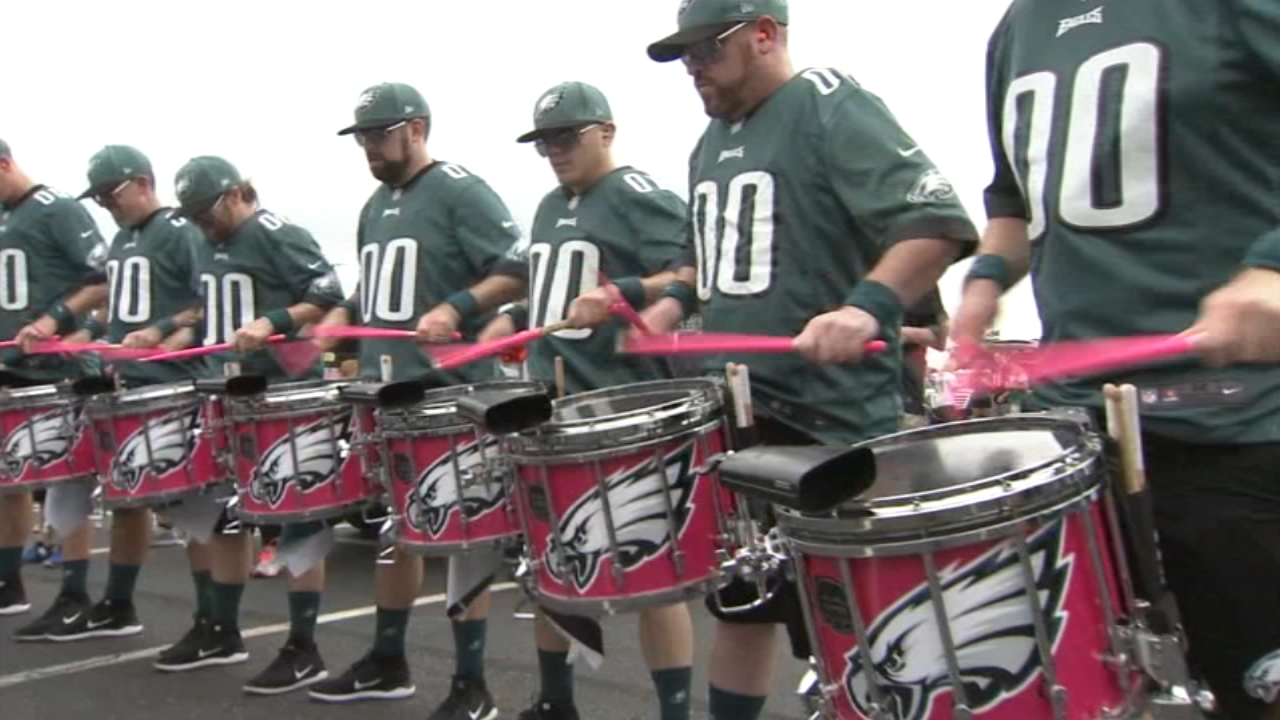 Action News photojournalist Chuck Purnell met the members of the Eagles Drumline s they entertained fans before a game.
