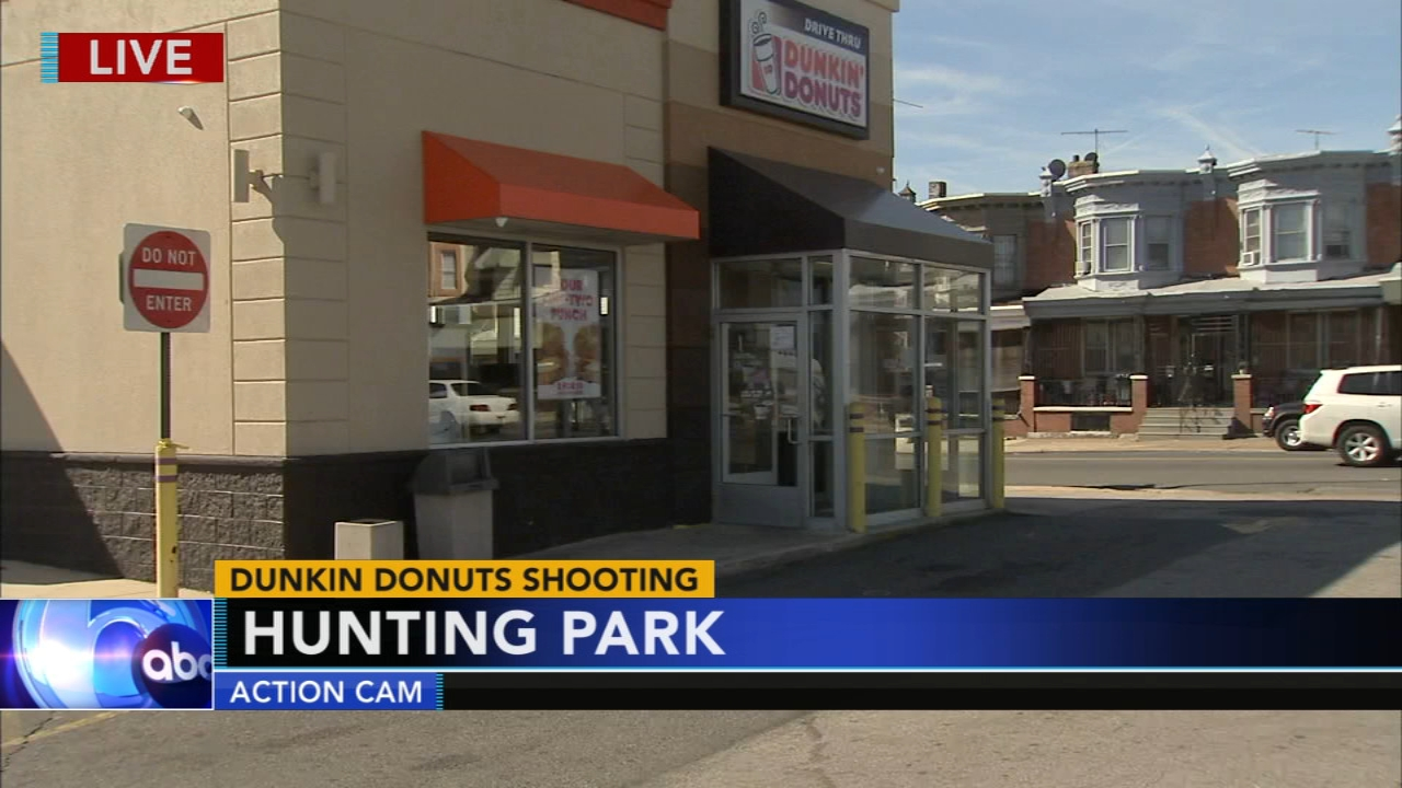 Man shot outside Dunkin Donuts store in Hunting Park. John Rawlins reports during Action News at Noonon October 19, 2018.