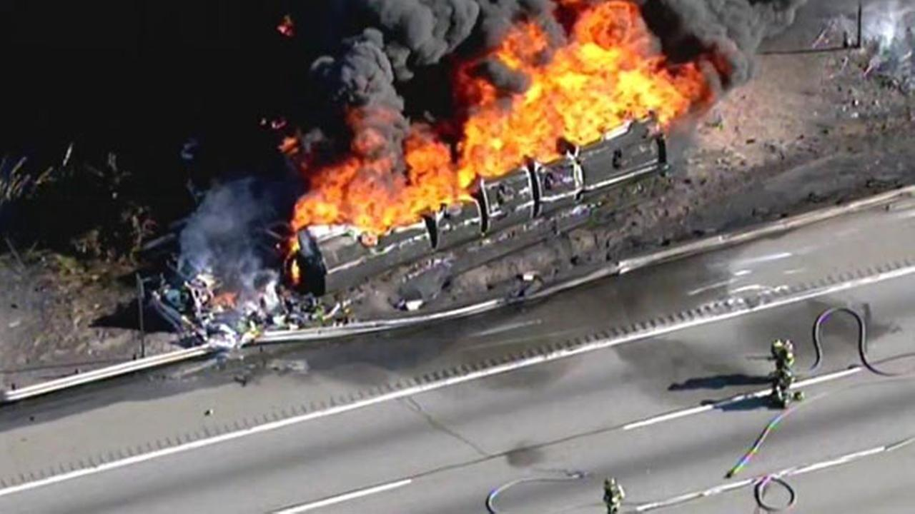 Tanker in fiery crash was carrying 8,500 gallons of gas