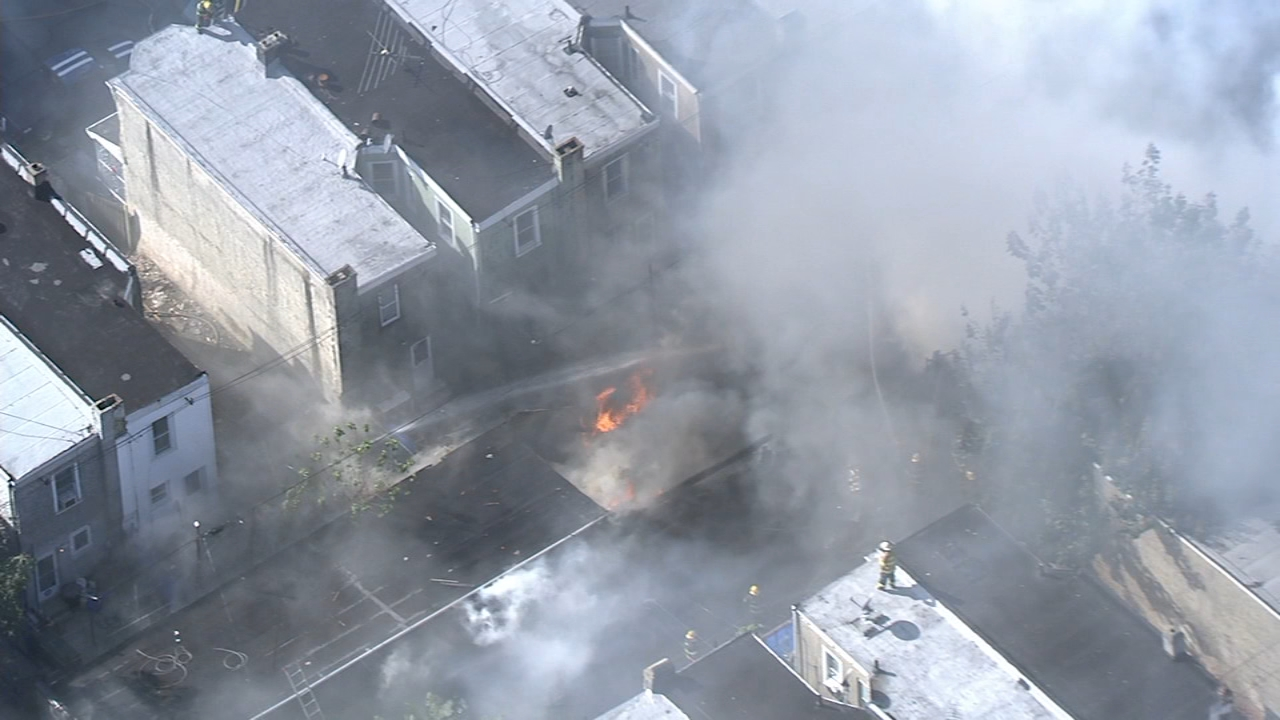 Chopper 6 over fire in Port Richmond on October 22, 2018.