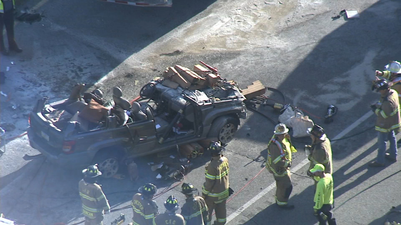 Chopper 6 Video: Crews rescue person after collision in Upper Chichester, Pa. on October 22, 2018.