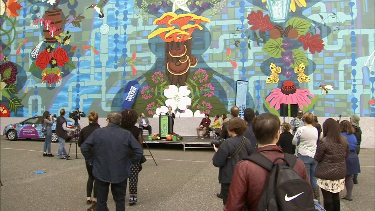 Officials from the Horticultural Society and the city dedicated the 4 story piece of art.  as reported during Action News at 4 on October 23, 2018.