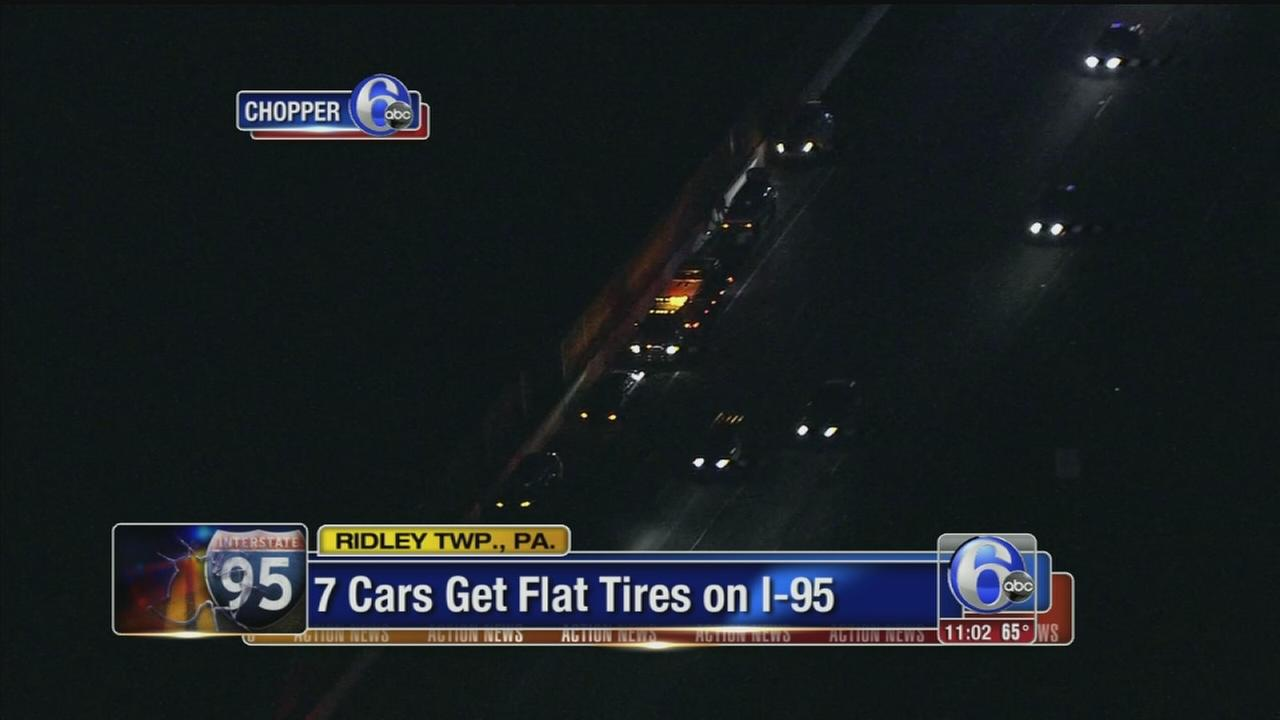 VIDEO: 7 cars get flat tires on I-95