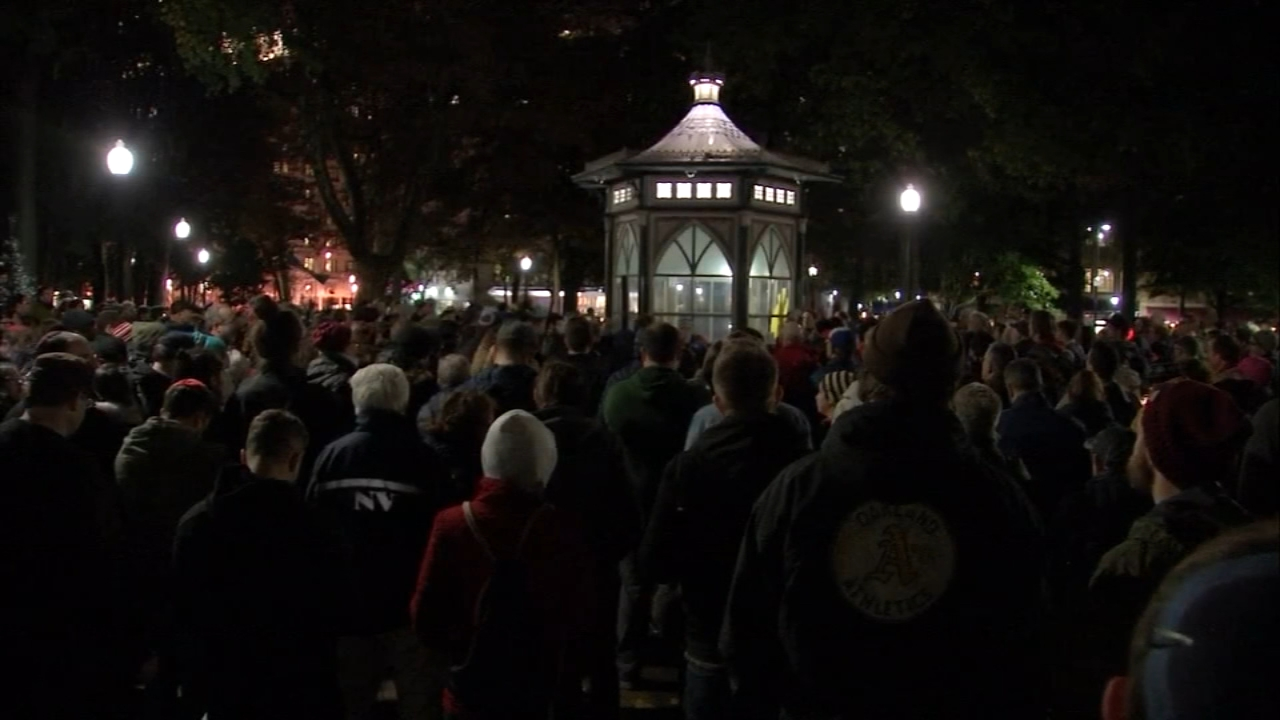 Vigil in Rittenhouse square for Pittsburgh shooting victims. Maggie Kent reports during Action News at 10pm on October 27, 2018.