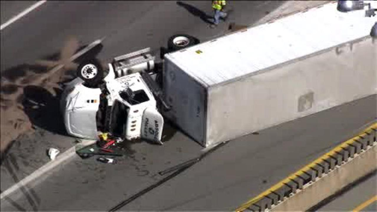 Overturned truck blocking westbound Pa. Turnpike at Route 1 in Bensalem