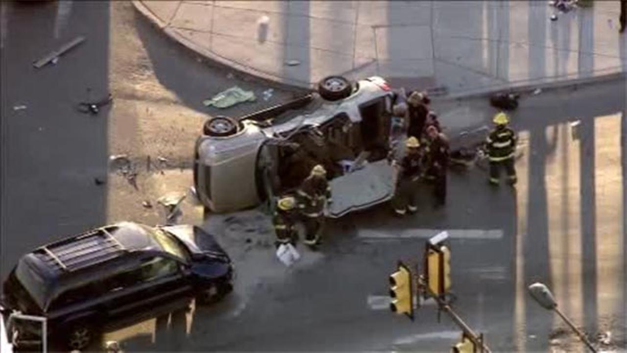 Two women, one critical, and one male are injured after a car accident in Southwest Philadelphia.