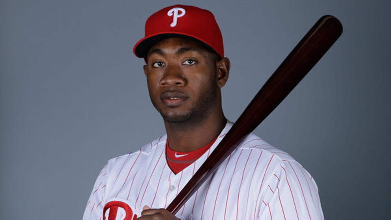 This is a 2013 photo of Dominic Brown of the Philadelphia Phillies baseball team.