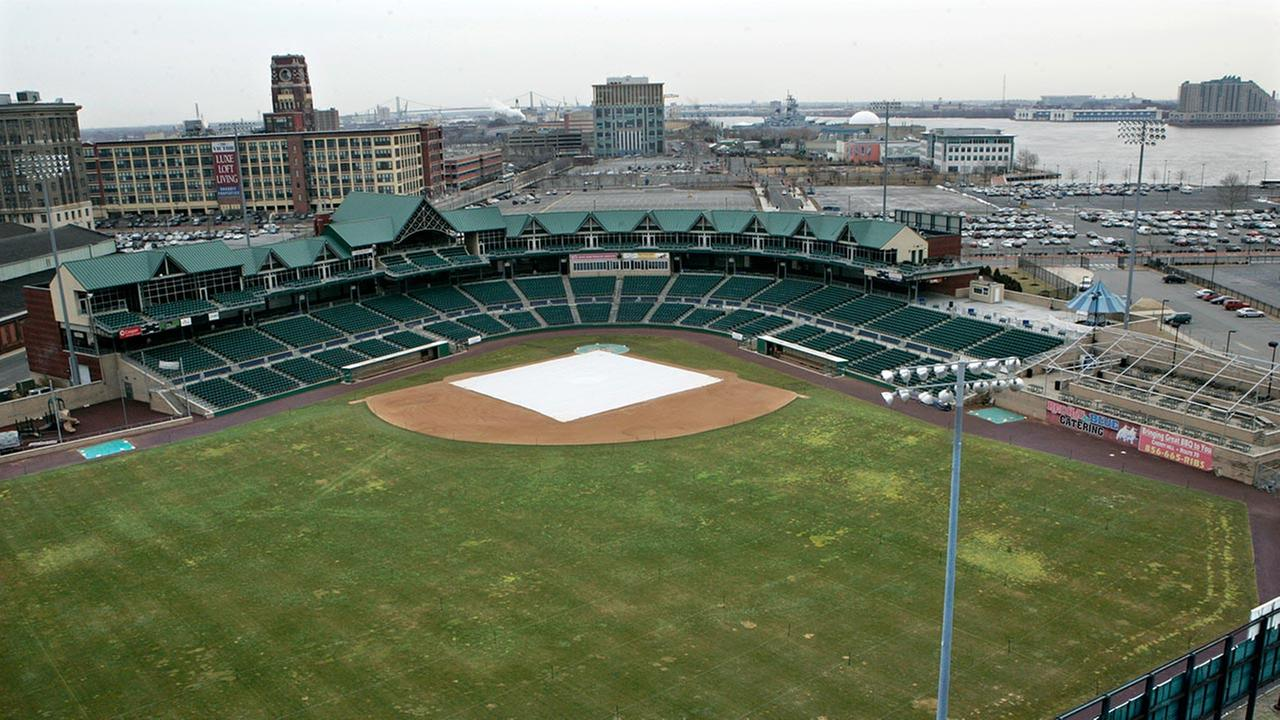 In this Tuesday, Feb. 10, 2009, file photo, Campbells Field, home of Camdens minor league baseball team Riversharks is seen along the Delaware River in Camden, N.J.