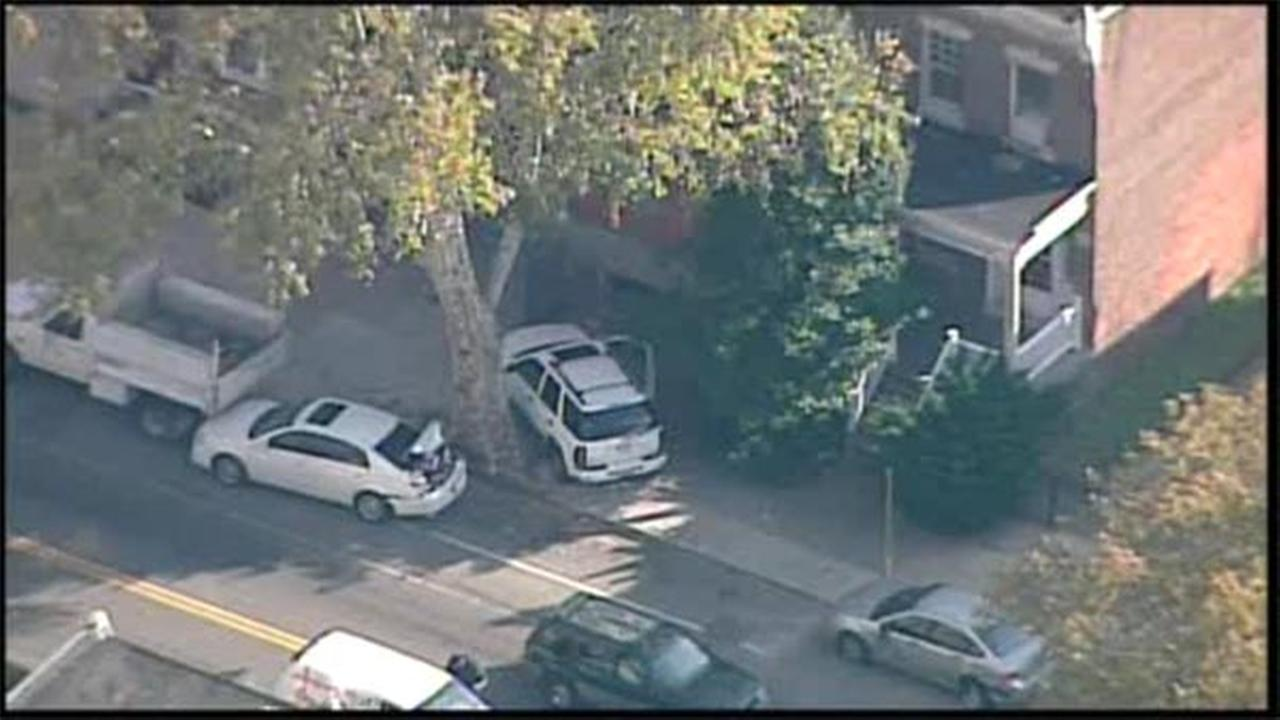 One person is hospitalized after two vehicles collided in West Philadelphia.